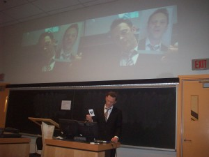 Alan Rhodes gives a presentation about AR by using AR at the HASTAC 2013 conference in Toronto.